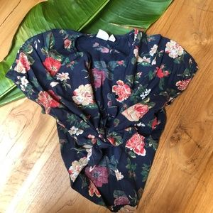 Vintage Floral Button-Up Blouse